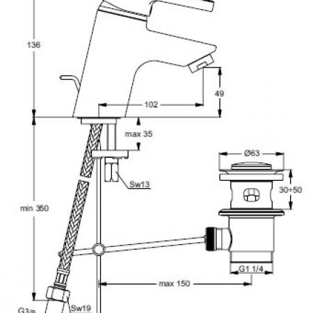 Ideal Standard ATTRACT Μπαταρία Νιπτήρος ψιλορούξουνη B0032AA