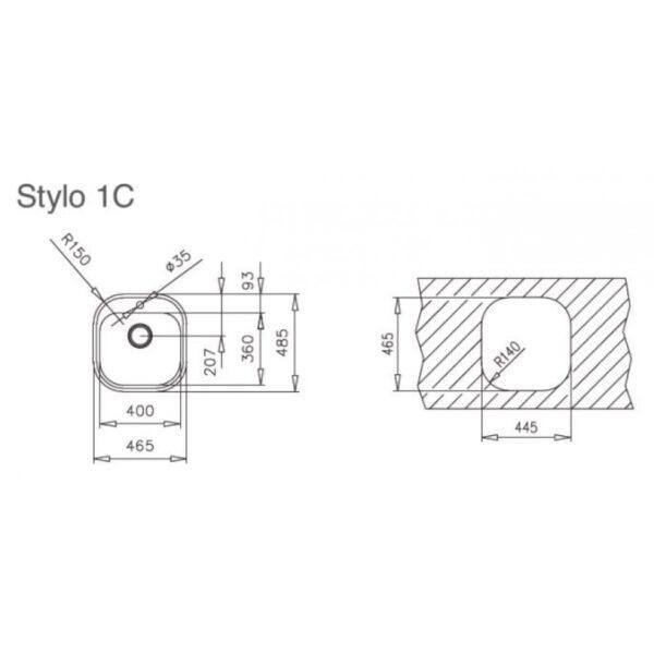 Teka STYLO 1C Λείος Νεροχύτης