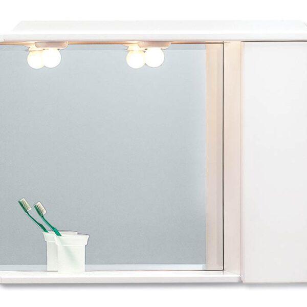 Pro Bagno No 312A Καθρέπτης με Ένα Ντουλαπάκι Λευκό